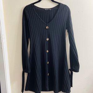 Nasty Gal black ribbed wood button down mini dress